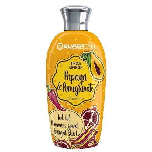 Крем для загара с SuperTan Papaya & Pomegranate с тингл-эффектом и DHA, 200 мл. крем для загара в солярии supertan lemongrass and orange с антицеллюлитным действием 15 мл