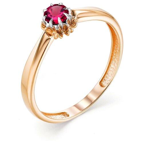 АЛЬКОР Кольцо с 1 рубином из красного золота 13185-103, размер 18.5