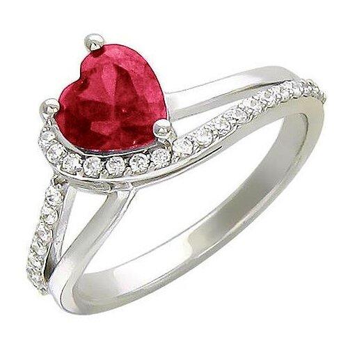 Эстет Кольцо с рубином и фианитами из серебра 01К256244-3, размер 17