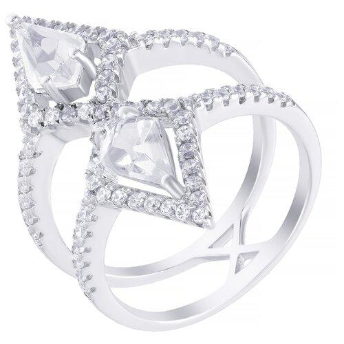 ELEMENT47 Кольцо из серебра 925 пробы с кубическим цирконием и ювелирным стеклом WR25184-R1_US_001_WG, размер 17.5