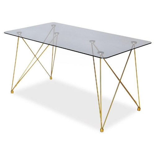 Стол кухонный TetChair Vulcano (mod. DT1423), ДхШ: 140 х 80 см, черный/золотой