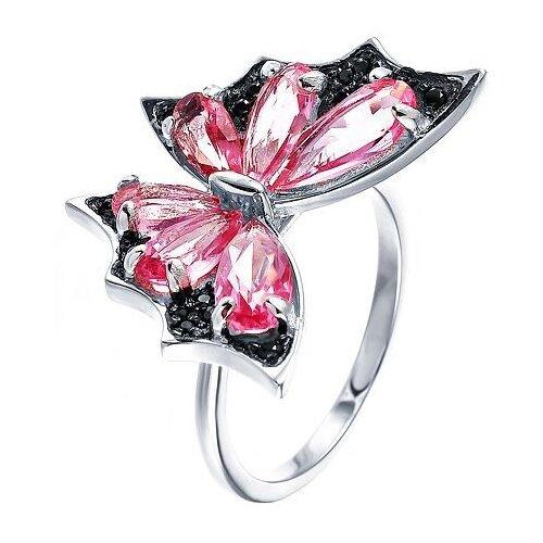 JV Кольцо с стеклом и фианитами из серебра SR001220-KO-US-001-WG, размер 18 jv кольцо с стеклом и фианитами из серебра se2617 r ko us 001 blk размер 18
