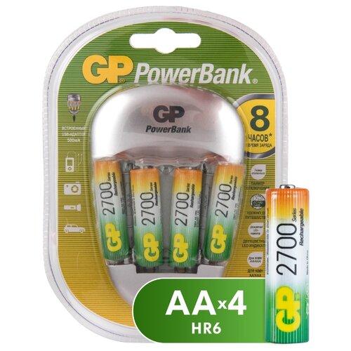 Фото - Аккумулятор Ni-Mh 2700 мА·ч GP Rechargeable 2700 Series AA + Зарядное устройство PowerBank, 4 шт. gp gpu811 и 4 аккум aa hr6 2700mah адаптер gpu811gs270aahc 2cr4