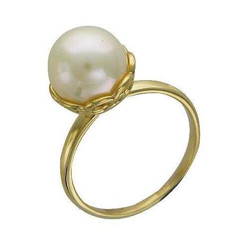 Эстет Кольцо с 1 жемчугом из жёлтого золота 01К335156-1, размер 18.5 фото