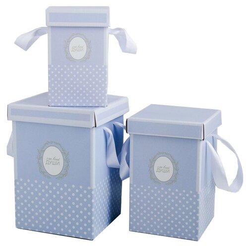 Фото - Набор подарочных коробок Дарите счастье От всей души 3 шт. сиреневый бумага упаковочная дарите счастье момент счастья 0 68 × 10 м сиреневый