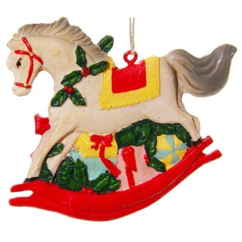 Елочная игрушка SHISHI 50538, бежевый/красный