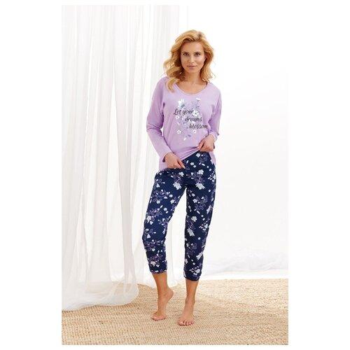 Фото - Хлопковая пижама Agnieszka для дам с пышными формами, серый с синим, размер XXXL taro мужская хлопковая пижама roman с клетчатым рисунком бордовый xxxl