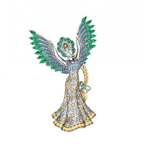 POKROVSKY Серебряная брошь Царевна-лебедь 2700068-04045 модели swarovski swarovski facet лебедь женской розовое золото покрыло лебедь брошь 5297353