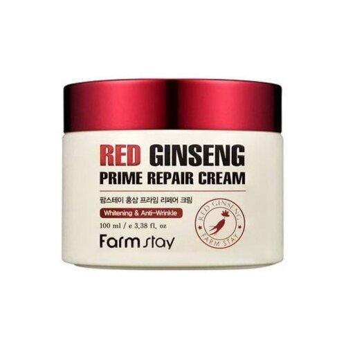 Farmstay Red Ginseng Prime Repair Cream Восстанавливающий крем для лица с экстрактом красного женьшеня, 100 мл farmstay snail repair cream объем 100 мл
