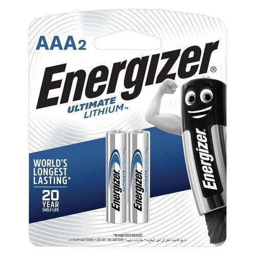Фото - Батарейки КОМПЛЕКТ 2 шт., ENERGIZER Ultimate Lithium, AAA (FR03, 24А), литиевые, мизинчиковые, блистер, 639170 батарейка energizer ultimate lithium aa 4 шт