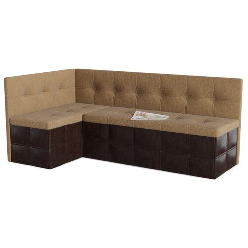 Кухонный диван SMART Домино левый бежевый/коричневый