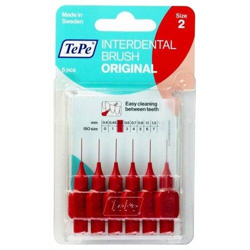 Зубной ершик TePe Original 2, red, 6 шт.