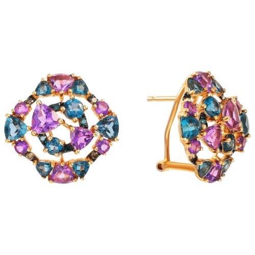 Фото - JV Серьги из розового золота 585 пробы с топазами лондон, бриллиантами и аметистами E28288C-DL-DN-AM-LT-PINK dl 0617 pink
