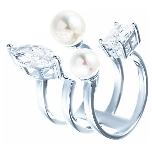 ELEMENT47 Кольцо из серебра 925 пробы с жемчугом майорика и фианитами OL01380D-KO-WM-001-WG, размер 16.25