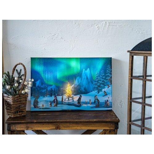 Фото - Светящаяся картина НОВОГОДНИЕ ПИНГВИНЫ, 10 LED-огней, 38х58 см, Kaemingk трафарет новогодние картинки 18 5х25 см kaemingk 461268