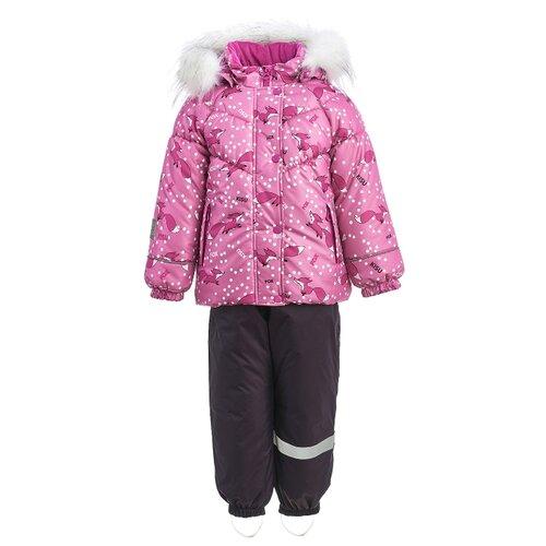Купить Комплект с полукомбинезоном KISU размер 92, 06022 розовый/фуксия/темно-фиолетовый, Комплекты верхней одежды