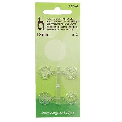 Купить 77603 Кнопки одежные пластик прозрачный 15мм 2шт PONY