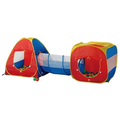 Купить Палатка Calida Конус + квадрат + туннель 629S желтый/красный/синий, Игровые домики и палатки