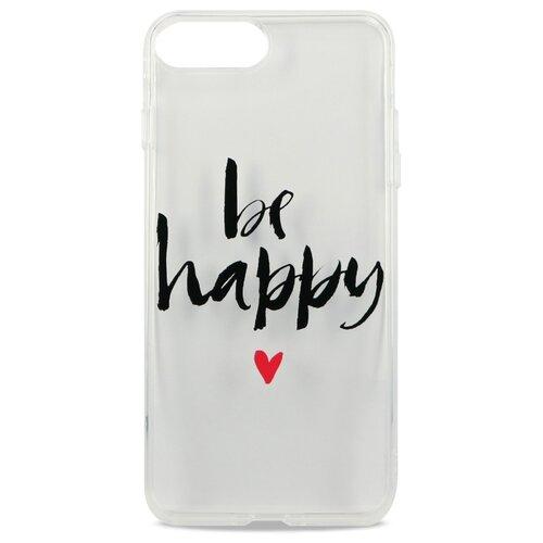 Силиконовый прозрачный чехол для iPhone 7 Plus и 8 Plus / Защитный чехол с принтом на Айфон 7 Плюс и 8 Плюс (Be happy)
