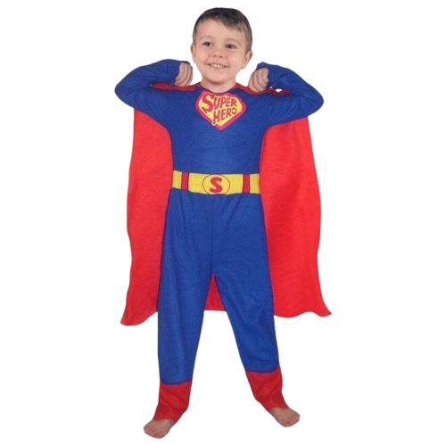 Костюм SNOWMEN Супермен (Е60448), красный/синий, размер 7-10 лет костюм snowmen человек огонь е94758 красный черный размер 4 6 лет