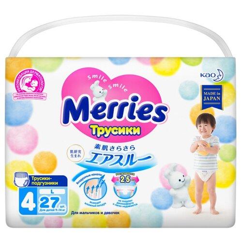 Купить Merries трусики L (9-14 кг), 27 шт., Подгузники