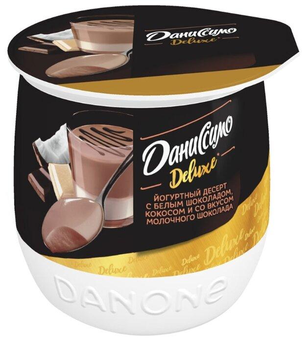 Десерт Даниссимо Deluxe йогуртный с белым шоколадом, кокосом и со вкусом молочного шоколада 5.2%, 160 г
