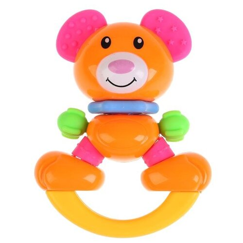 Фото - Прорезыватель-погремушка Умка Мишка 1603M123-Y оранжевый/розовый аэлита погремушка мишка баюн цвет розовый салатовый синий