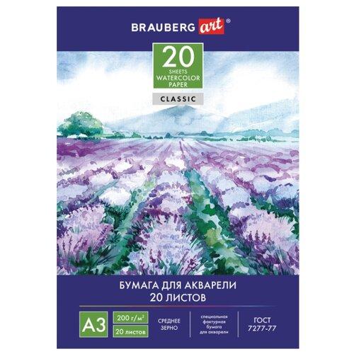 Купить Папка для акварели BRAUBERG 42 х 29.7 см (A3), 200 г/м², 20 л., Альбомы для рисования