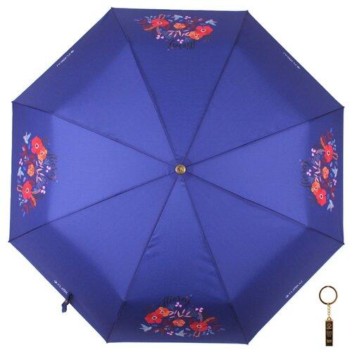 Зонт автомат FLIORAJ Premium Цветы и птицы синий