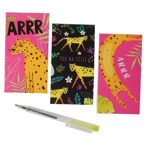 Купить Канцелярский набор ArtFox Леопард (4700302), 5 пр., розовый/черный, Офисные наборы