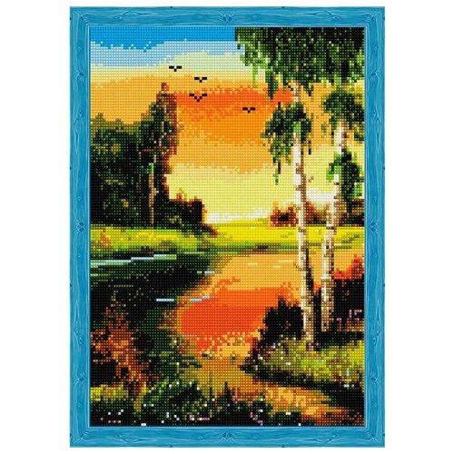 Купить Алмазная вышивка Цветной Березы на закате у реки , 40x30