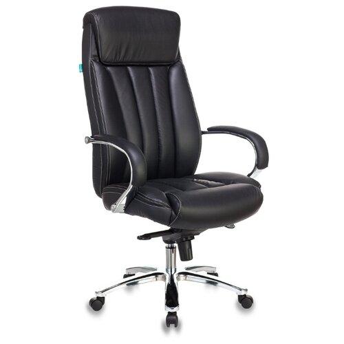 Компьютерное кресло Бюрократ T-9922SL для руководителя, обивка: натуральная кожа, цвет: черный компьютерное кресло бюрократ t 9927walnut low для руководителя обивка натуральная кожа цвет черный