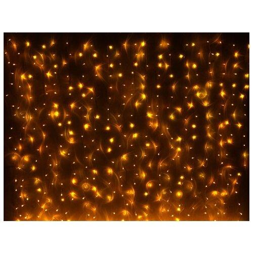 Занавес световой PLAY LIGHT МЕРЦАЮЩИЙ, 400 LED ламп, (320 статичных жёлтых/80 мерцающих холодных белых LED ламп), 2x2 м