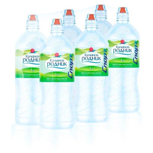 Вода питьевая Калинов Родник негазированная, спорт-ПЭТ, 6 шт. по 1 л вода минеральная калинов родник газированная пэт 6 шт по 1 5 л
