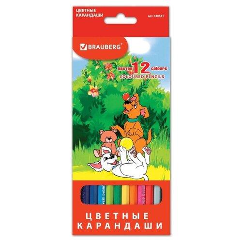 Купить BRAUBERG Карандаши цветные My lovely dogs 12 цветов (180531), Цветные карандаши