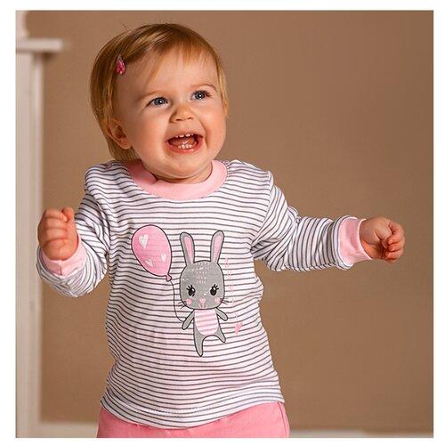 Купить Лонгслив Лапушка размер 86, молочный/розовый, Футболки и рубашки