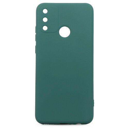 Силиконовый чехол для Huawei Honor 9A / С бархатистым покрытием внутри / Чехол 360 градусов с противоударными бортами / Чехол с функцией защитного стекла для камеры (Темно-зеленый) чехол
