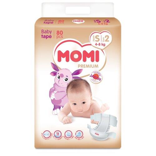 Momi подгузники Premium S (4-8 кг) 80 шт.