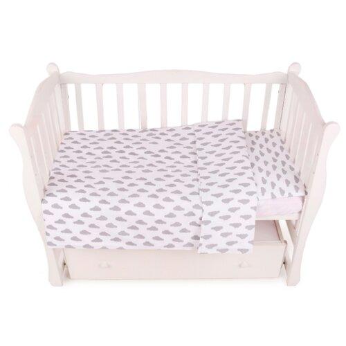 Фото - Amarobaby комплект в кроватку Baby Boom Облака (3 предмета) серый amarobaby комплект в кроватку baby boom короны 3 предмета серый