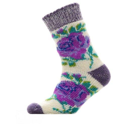 Носки шерстяные Бабушкины носки N6R54-2фиолетовый,зеленый_38-40
