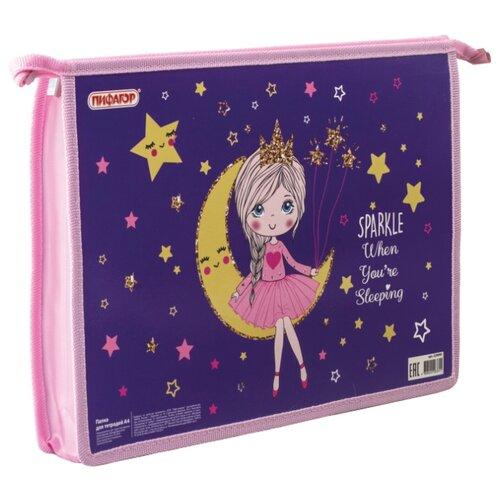 Купить Пифагор Папка для тетрадей Moon Princess А4, молния розовый/синий, Файлы и папки