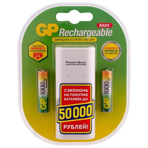 Фото - Аккумулятор Ni-Mh 1000 мА·ч GP Rechargeable 1000 Series AAA + ЗУ, 2 шт. аккумулятор ni mh 1000 ма·ч gp rechargeable 1000 series aaa зу 4 шт блистер