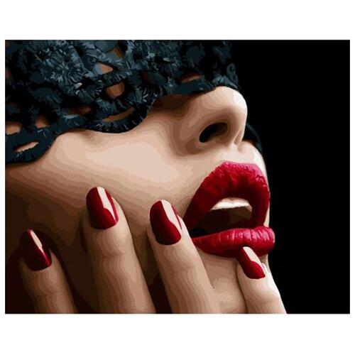 Купить Картина по номерам ВанГогВоМне ZX 23180 Красные губы 40х50 см, Картины по номерам и контурам