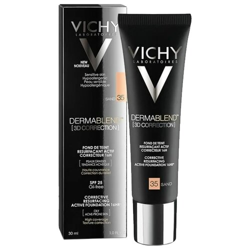 Vichy Тональный крем Dermablend 3D Correction, 30 мл, оттенок: 35 Sand консилер dermablend cosmetique corrective от vichy