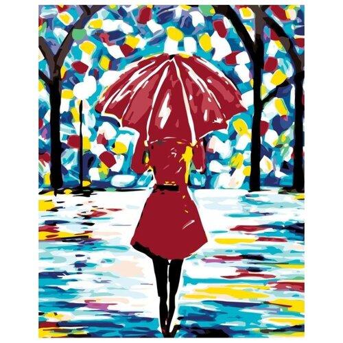 Купить Картина по номерам Живопись по Номерам Леди в красном под зонтом , 40x50 см, Живопись по номерам, Картины по номерам и контурам