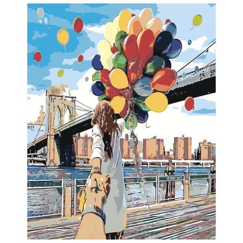 Купить Картина по номерам Живопись по Номерам Девушка с воздушными шарами , 40x50 см, Живопись по номерам, Картины по номерам и контурам