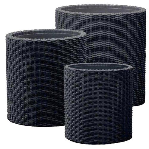 Кашпо KETER CYLINDER PLANTERS Set S+M+L темно-серый хозяйственный блок keter oakland 7511 серый 17201421