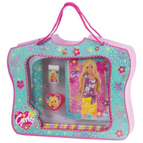 Купить Канцелярский набор BRAUBERG Принцесса (128419), 6 пр., розовый/зеленый, Офисные наборы