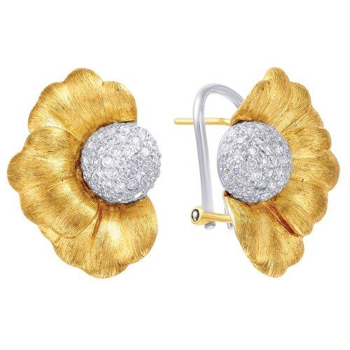 JV Золотые серьги с бриллиантами GE1184-WS-WY4-WJ