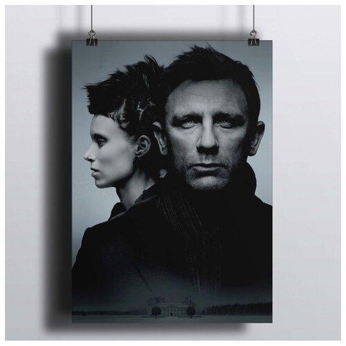 Постер Девушка С Татуировкой Дракона 50х70 см.В Рамке